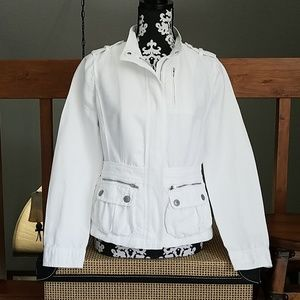 Ann Taylor white denim jacket